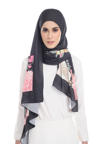 Floral EDEN in Black Heavy Chiffon - Sugarscarf