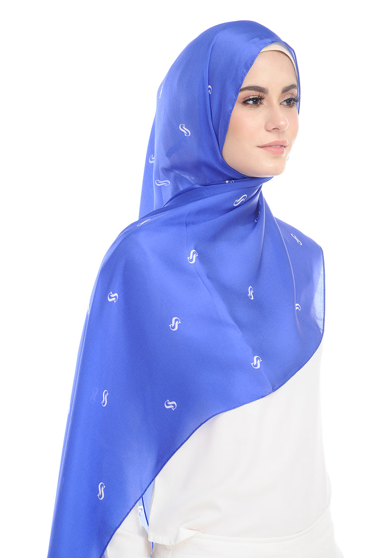 MONOGRAM 100% SATIN SILK ROYAL BLUE