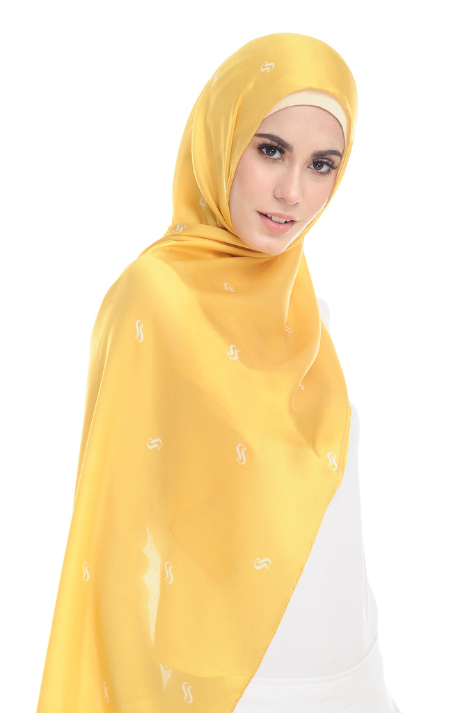 MONOGRAM 100% SATIN SILK YELLOW SUNSHINE