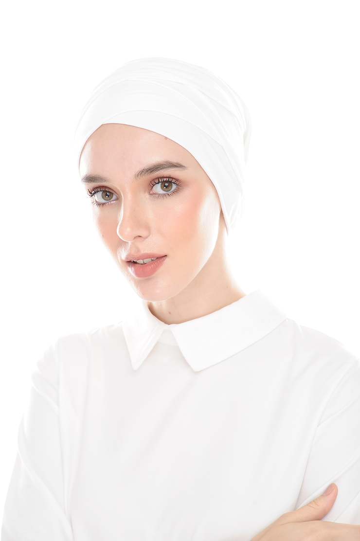 Inner Hana Snow Cap ( No tie back ) - Layered Style ( White ) - Sugarscarf