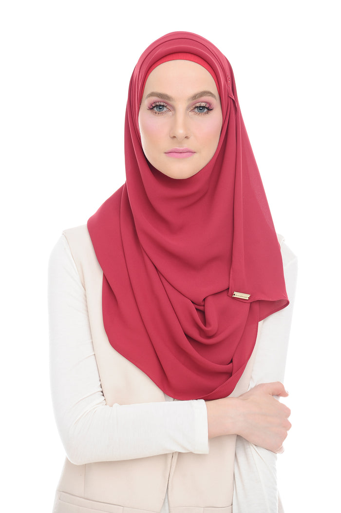 Red Swarvoski Double Loop Instant Shawl - Without Inner