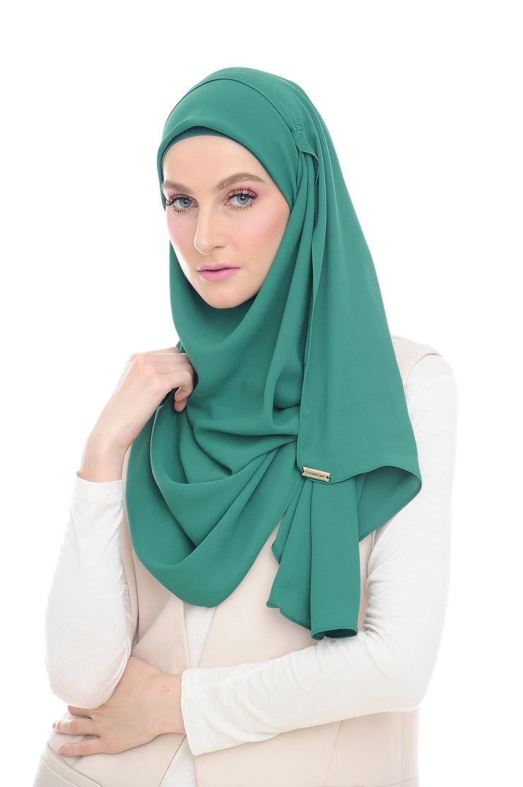 Green Swarvoski Double Loop Instant Shawl - Without Inner - Sugarscarf