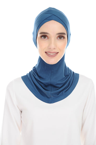 MagicFitInner Inner neck Tieback Sugarscarf - Peacock Blue ( Free Size ) -  Double Cross Style