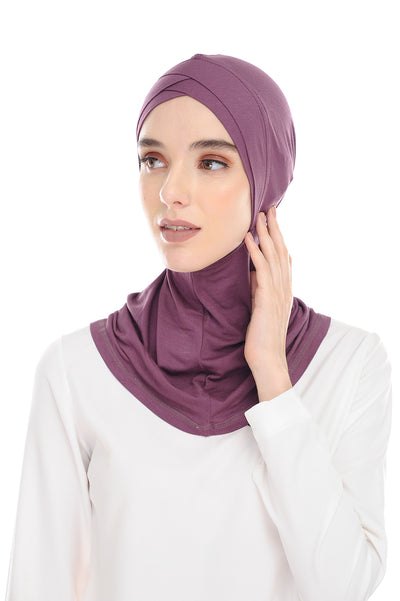 MagicFitInner Inner neck Tieback Sugarscarf - Plum ( Free Size ) -  Double Cross Style