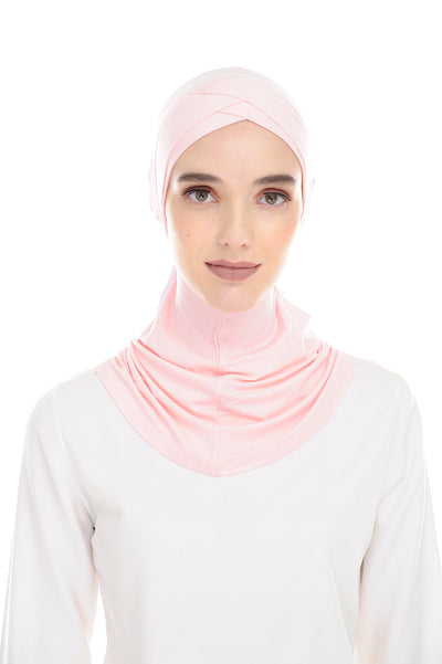 MagicFitInner Inner neck Tieback Sugarscarf - CreamyPink ( Free Size ) -  Double Cross Style