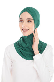 MagicFitInner Inner neck Tieback Sugarscarf - Emerald ( Free Size ) - Double Cross Style