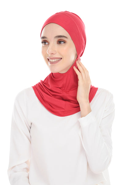 MagicFitInner Inner neck Tieback Sugarscarf - RedPink ( Free Size ) -  Round Style