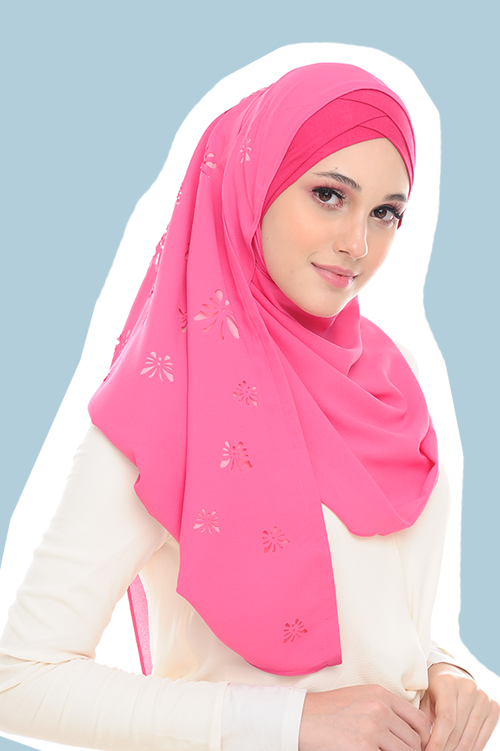 VM Instant Shawl Butterfly CutOut Pink Flush