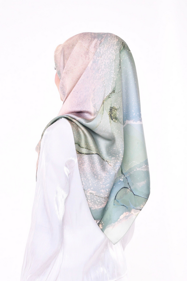 ( Square )  Dolce Stardust Mixed Satin Silk ( Jade Stone )