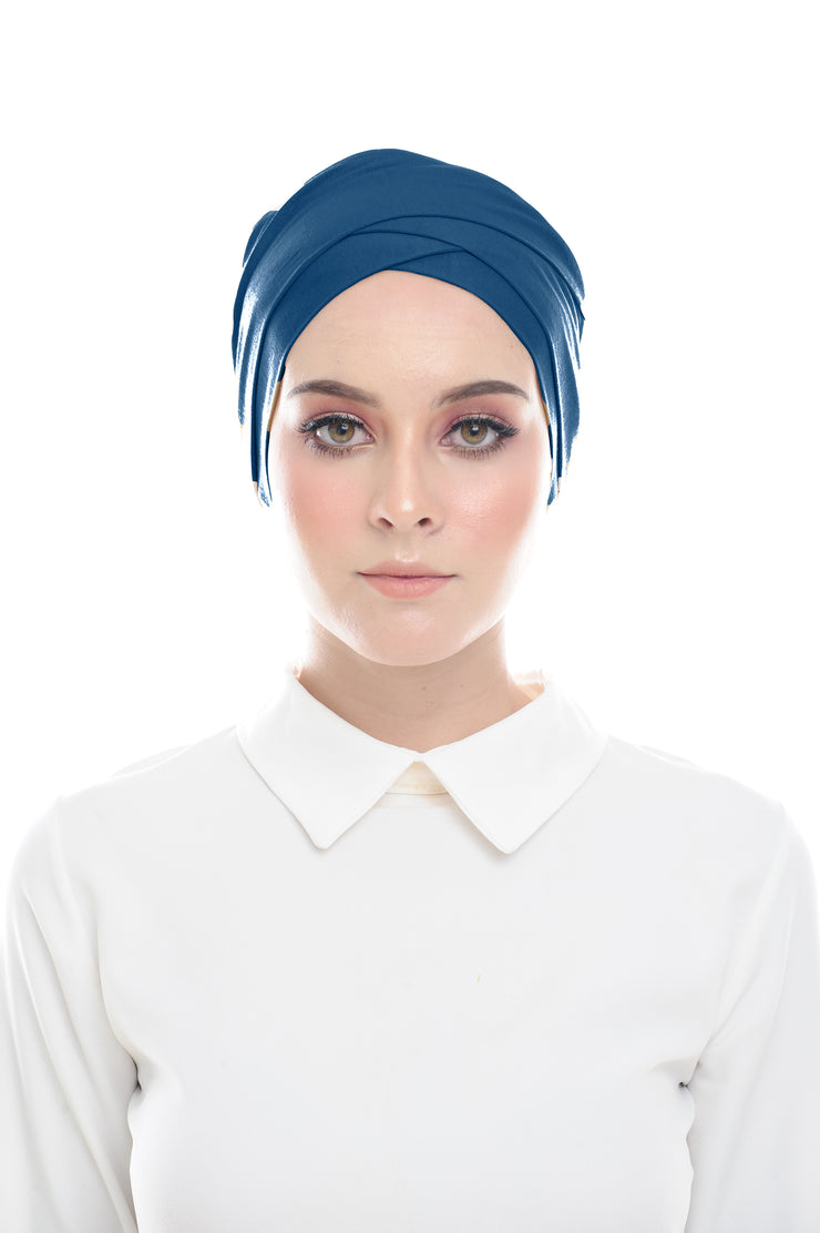 Inner Hana Snow Cap ( No tie back ) - Layered Style (Bleu) - Sugarscarf