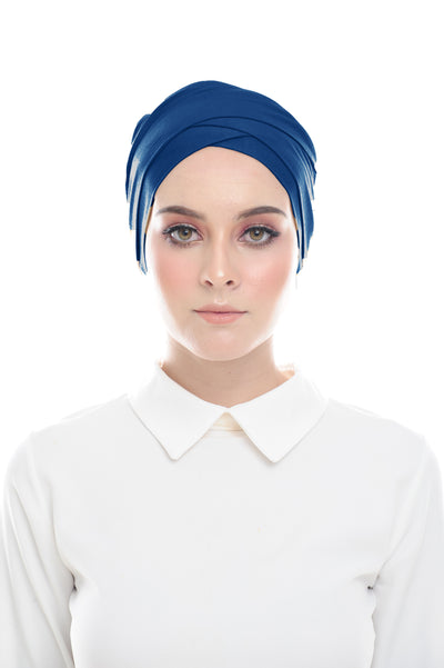 Inner Hana Snow Cap ( No tie back ) - Layered Style (Cerulean Blue ) - Sugarscarf