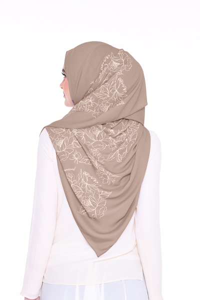 Long Shawl Flowy Chiffon PURE (Hazelnut )