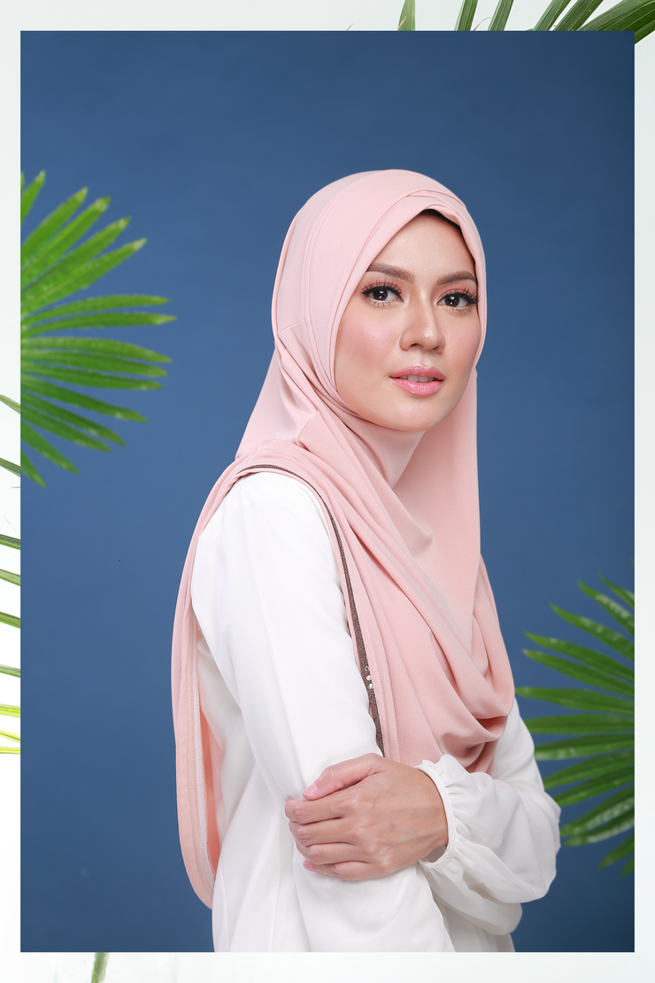 Instant Ushape SlipOn Plain PeachTea L ( Real Swarvoski) - Sugarscarf
