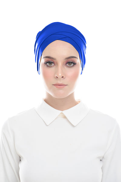 Classic Inner Hana Snow Cap ( No tie back ) - Layered Style ( Electric Blue ) - Sugarscarf