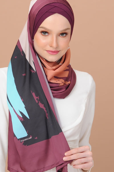 Euphoria MESMERIZED BROWN - Semi Instant Mixed Satin Silk - Sugarscarf