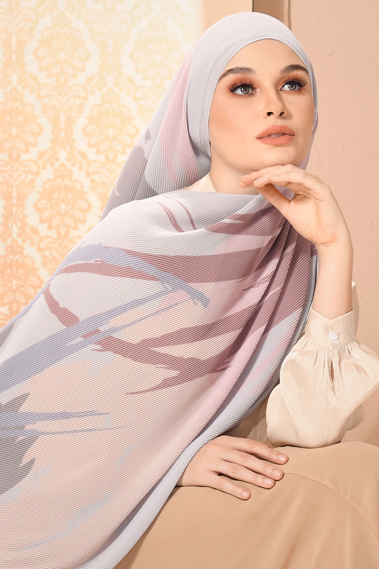 (Full Pleats ) EUPHORIA Shawls in Bright and Shines ( Light Gray )