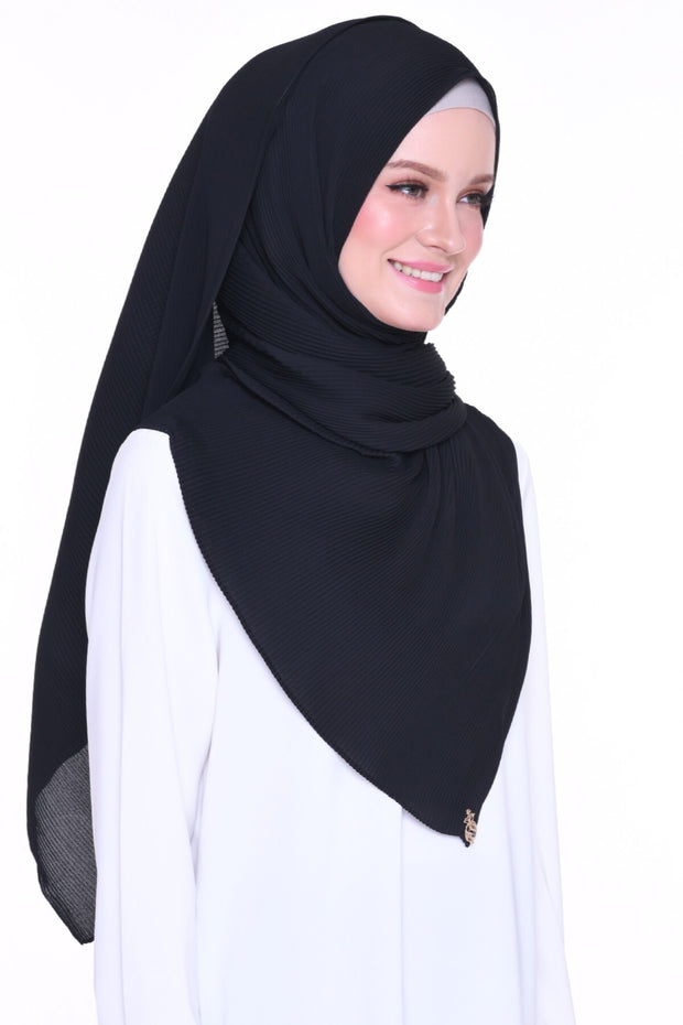 Breeze Wide Full Pleats Shawl - Darkest ( Full Straight)
