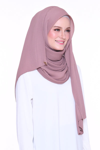 Full Pleats 0.9m wide MXCrepe Shawl - Petra ( Dusty Pink Brown)