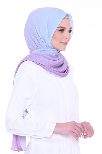 Lapez Ombre Wide Pleated Shawl - Malibu