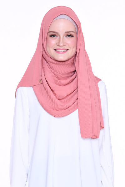 Full Pleats 0.9m wide MXCrepe Shawl - Ibiza( Dark Peach )