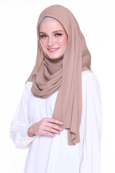 Full Pleats 0.9m wide MXCrepe Shawl - Oman ( Warm Beige )