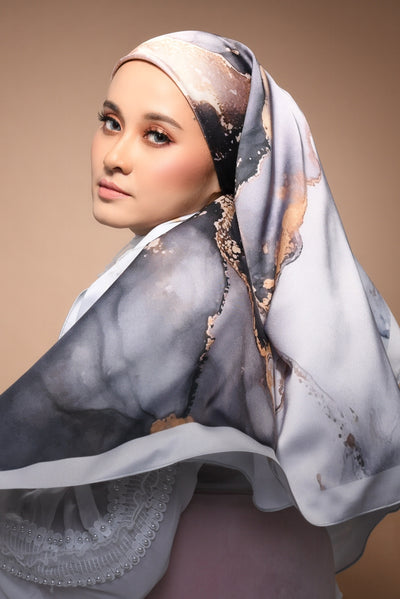 (Square) DOLCE Mix Satin Silk Scarf - Thousand Years