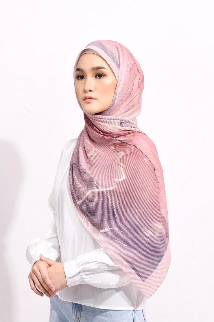 Dolce Pleats Long Shawl in Always There( Dusty Purple Rose) ( Choose Size)
