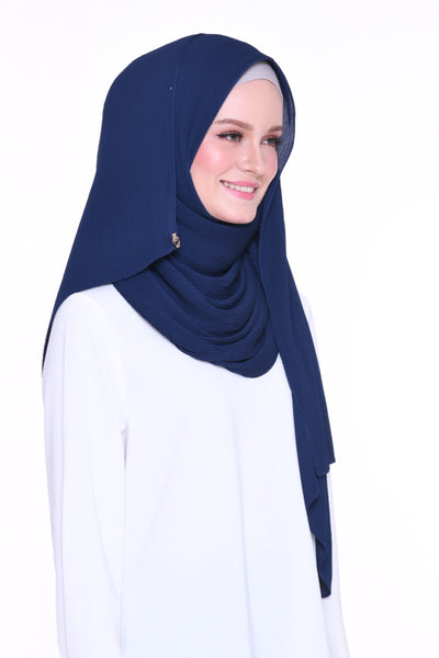 Full Pleats 0.9m wide MXCrepe Shawl - Panama (NavyBlue)