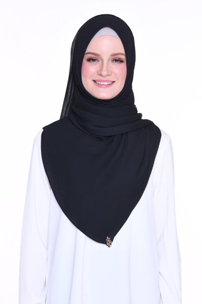 Full Pleats 0.9m wide MXCrepe Shawl - Black