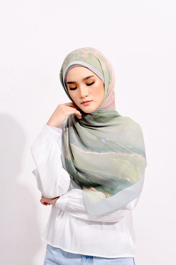 Dolce Pleats Long Shawl in Thank You ( Blue Green)  ( Choose Size)