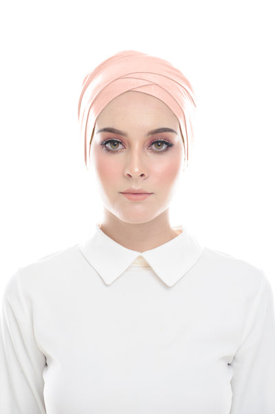Classic Inner Hana Snow Cap ( No tie back ) - Layered Style ( peach ) - Sugarscarf