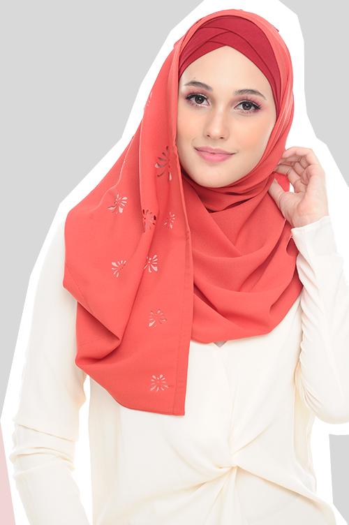 VM Instant shawl Butterfly CutOut ( Paprika Red )