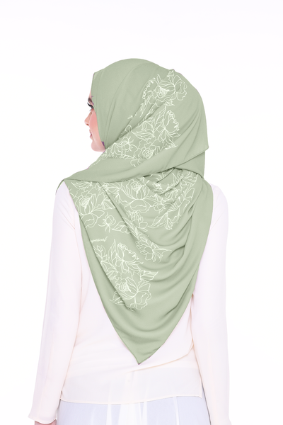 Long Shawl Flowy Chiffon PURE ( Matcha Tea  )