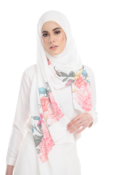 Floral EDEN in White Heavy Chiffon - Sugarscarf