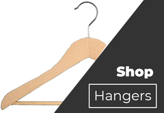 Wooden Suit Hangers with Stationary Bar
