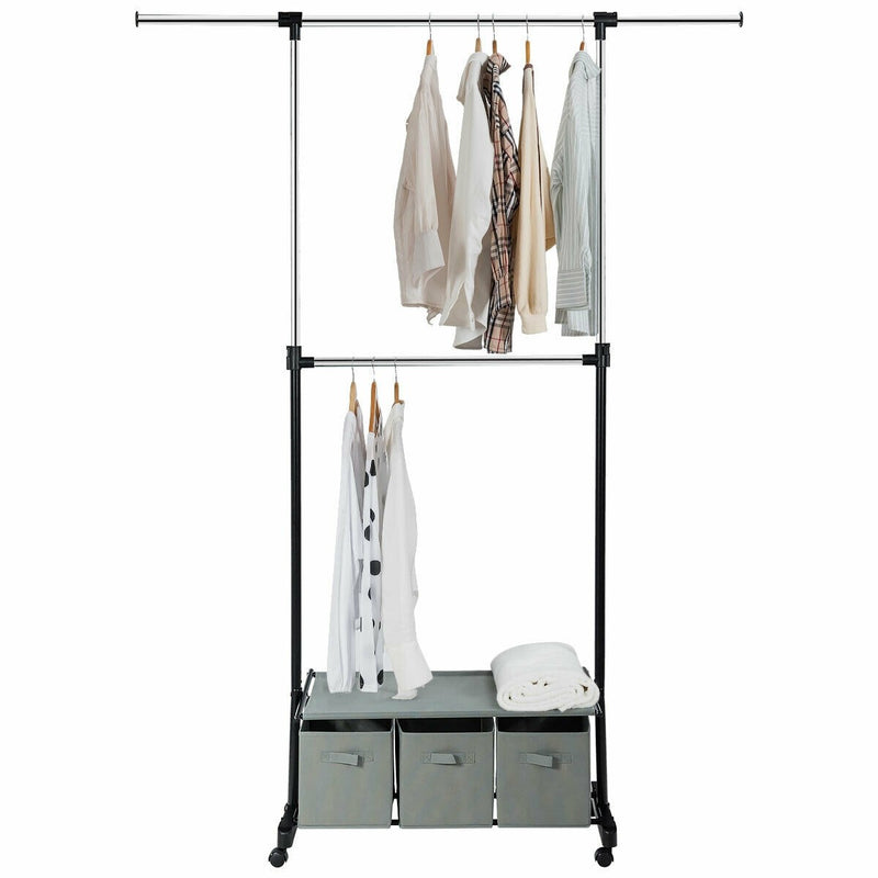 Adjustable 2-Rod Garment Rack with Shelf and Storage Boxes on wheels