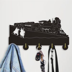 Decorative Wall Hanger - Cowboy Riding Horse Steam Locomotive Train
