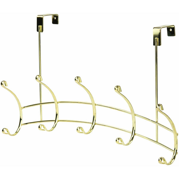 5 Hook Over The Door Hanging Rack Hanger - Gold