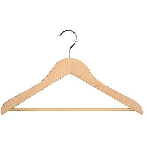 Wooden Suit Hangers with Stationary Bar - Natural - 17 ½""