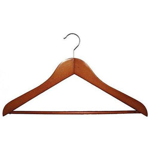 Wooden Suit Hangers with Stationary Bar - Cherry - 17 ½""