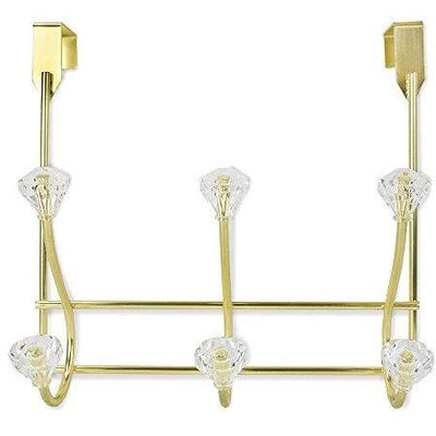 3 Hook Over the Door Hanger with Crystal Knobs - Gold