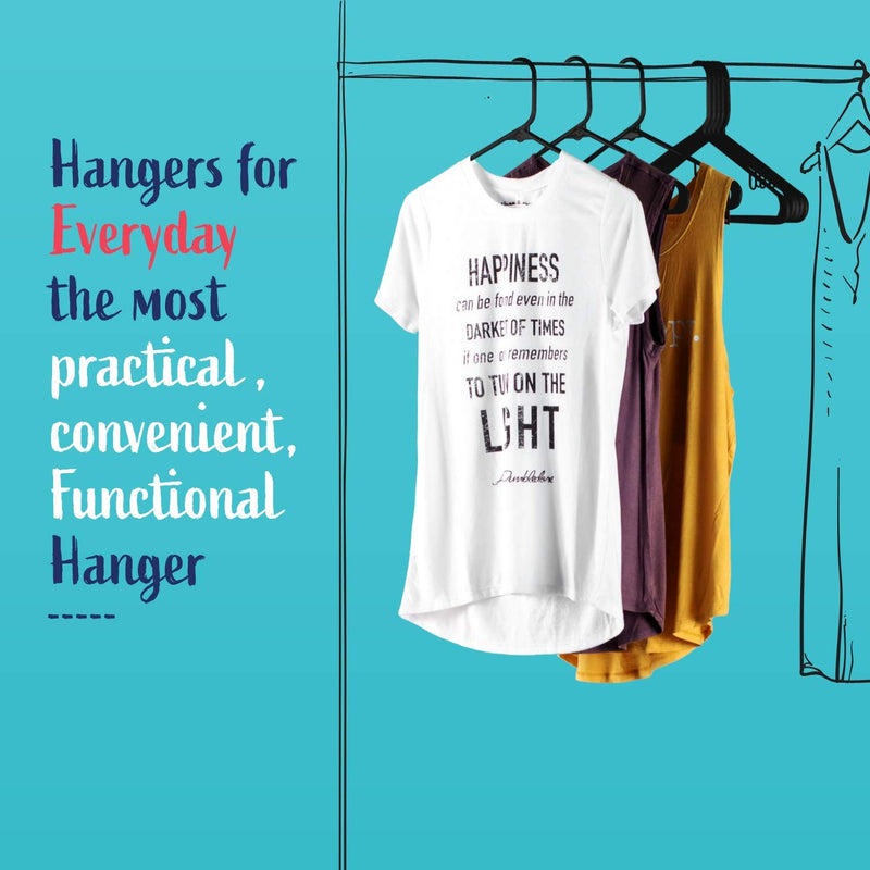 Standard Everyday Black Plastic Hangers, Long Lasting Tubular Clothes Hangers, Value Pack of 60