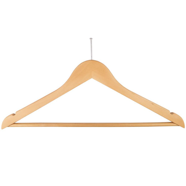 Ball Top Natural Wooden Hotel Anti-Theft Suit Hangers with Bar and Notches