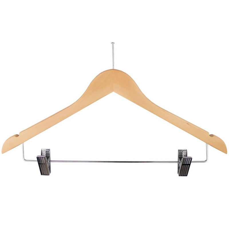 Ball Top Natural Wooden Hotel Anti-Theft Suit Hangers with Metal Sliding Clips