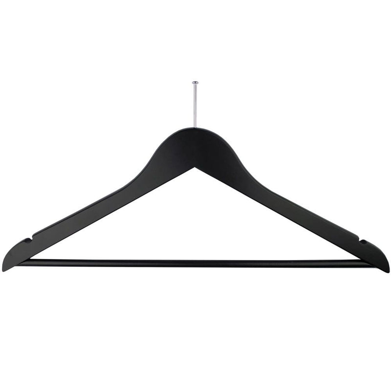 Ball Top Black Wooden Hotel Anti-Theft Suit Hangers with Bar and Notches