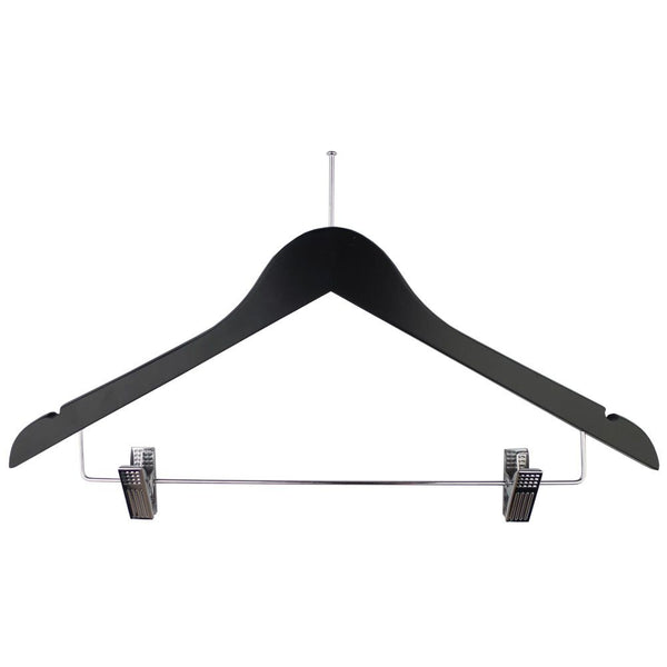 Ball Top Black Wooden Hotel Anti-Theft Suit Hangers with Metal Sliding Clips
