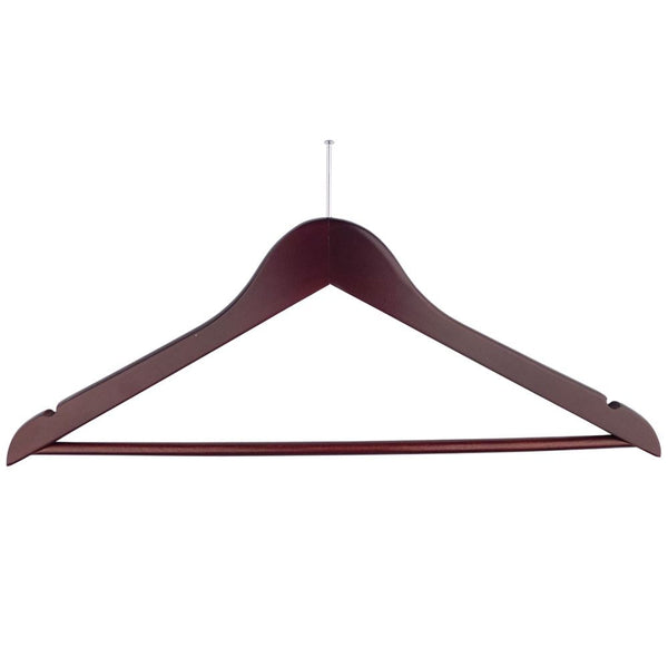 Ball Top Mahogany Wooden Hotel Anti-Theft Suit Hangers with Bar and Notches