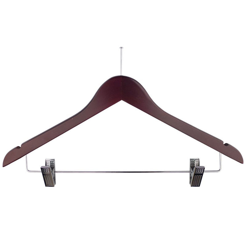 Ball Top Mahogany Wooden Hotel Anti-Theft Suit Hangers with Metal Sliding Clips