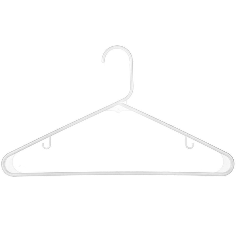 Standard Everyday White Plastic Long Lasting Tubular Clothes Hangers, Value Pack of 60