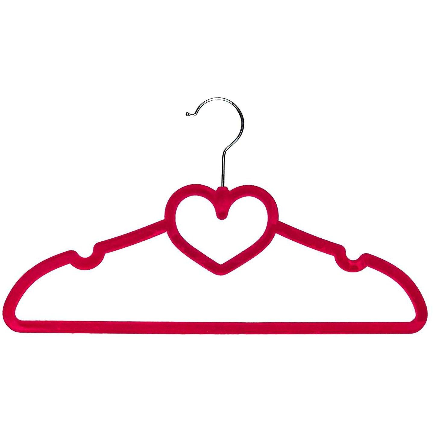 Heart Shaped Velvet Children's Hangers - Pink